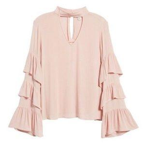 NWT BP Ruffle long sleeve blouse pink